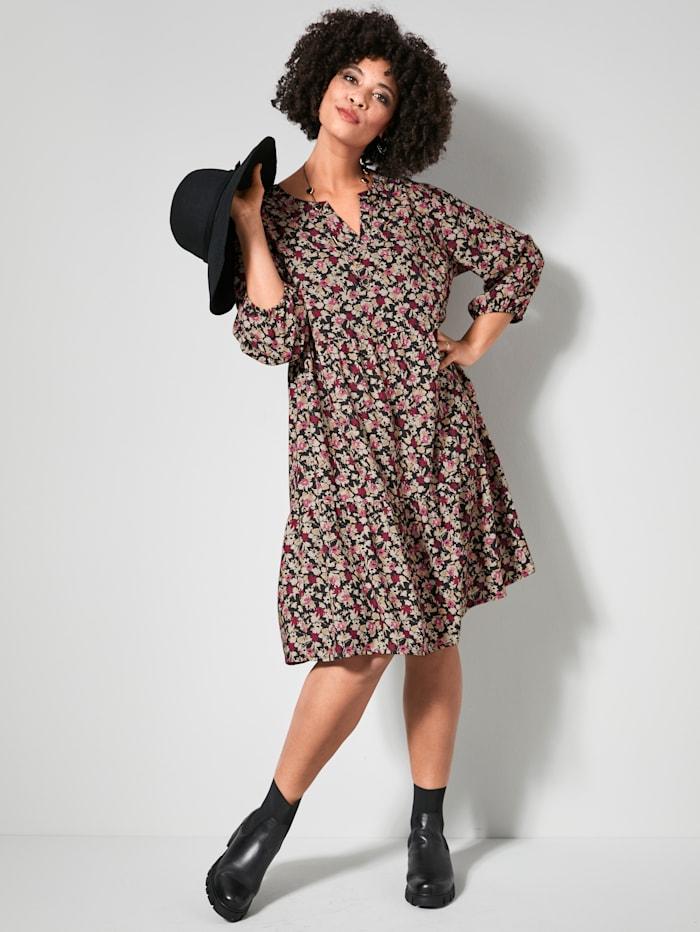 Angel of Style Web-Kleid mit Volants, Schwarz/Rosé