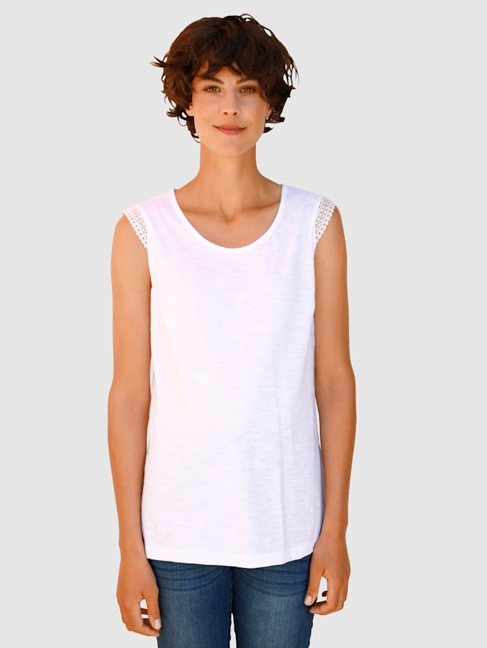Dress In Top mit Crochettape am Arm, Weiß