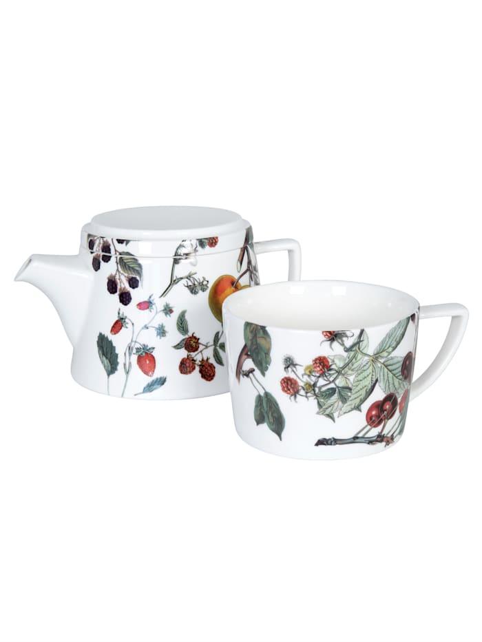 """Tekanna med lock och kopp """"Tea for me - fruktdekor"""""""