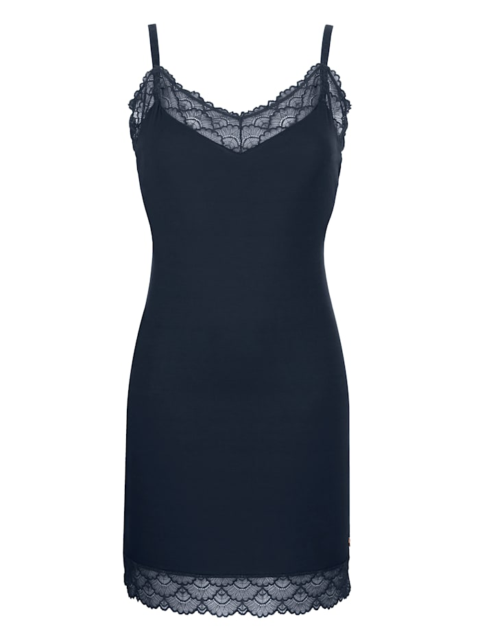 JOOP! Negligee with sheer lace trim, Midnight Blue