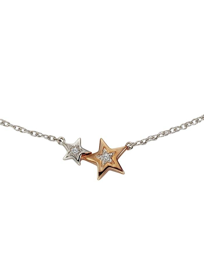 Celesta Collier 925/- Sterling Silber Diamant weiß Diamant 45cm Bicolor 0,005, mehrfarbig