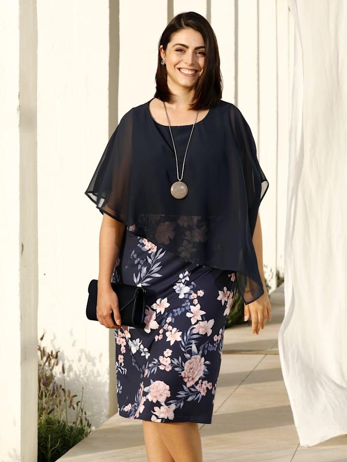 m. collection Kleid mit asymmetrischem Überwurf, Marineblau/Rosé