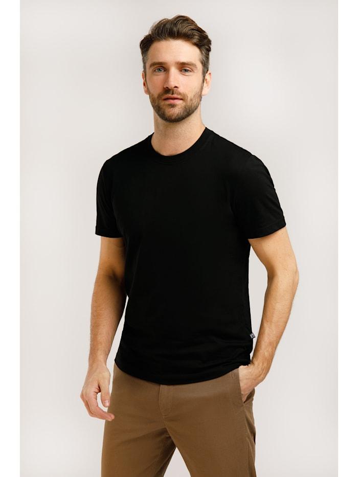 Finn Flare Klassisches Basic-Shirt für Herren, black