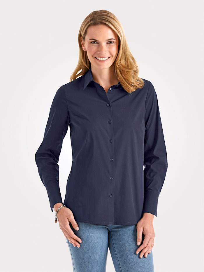 MONA Blouse with cotton, Navy