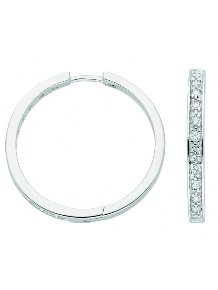 1001 Diamonds Damen Silberschmuck 925 Silber Ohrringe / Creolen mit Zirkonia Ø 29,7 mm, silber