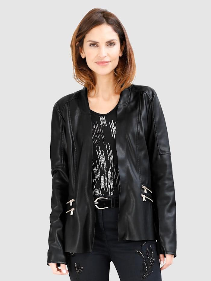 MONA Veste en cuir synthétique, Noir