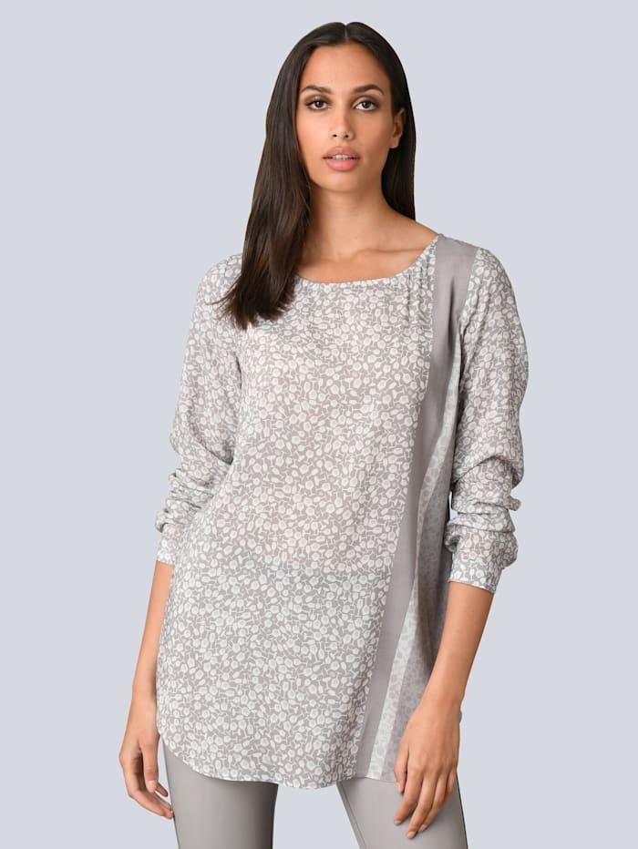 Alba Moda Bluse in modischem Druck, Grau/Off-white