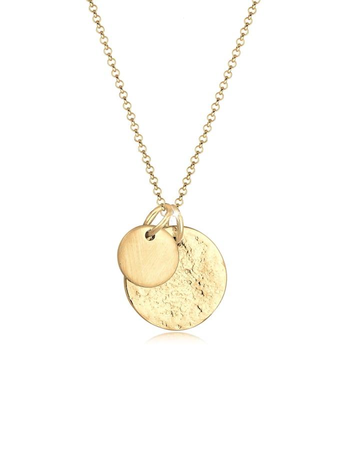 Elli Halskette Plättchen Münzen Geo-Organic Look 925 Silber, Gold