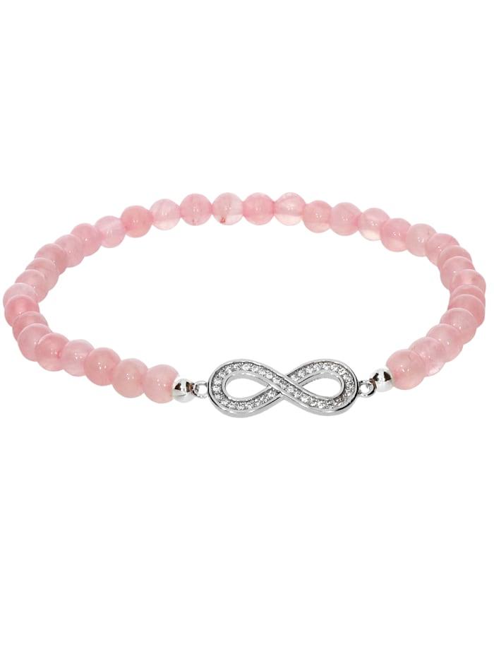 1001 Diamonds Rosenquarz Armband 925 Silber 17 cm, rosa