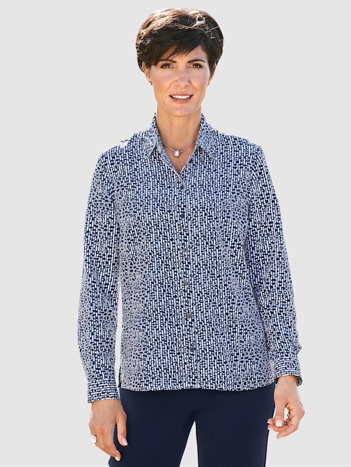 Paola Bluse mit Streifen und Animaldruck, Weiß/Marineblau