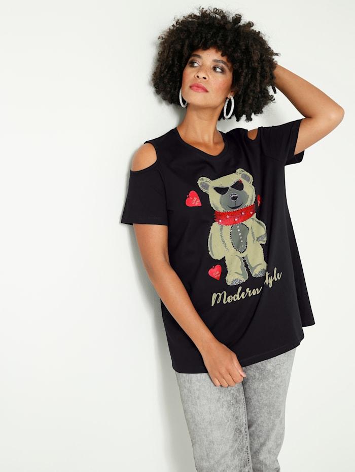 Angel of Style Shirt mit Cut-Outs an den Schultern, Schwarz/Grau