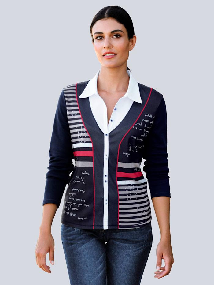 Alba Moda Shirt in 2 in 1-Optik, Marineblau/Weiß/Rot