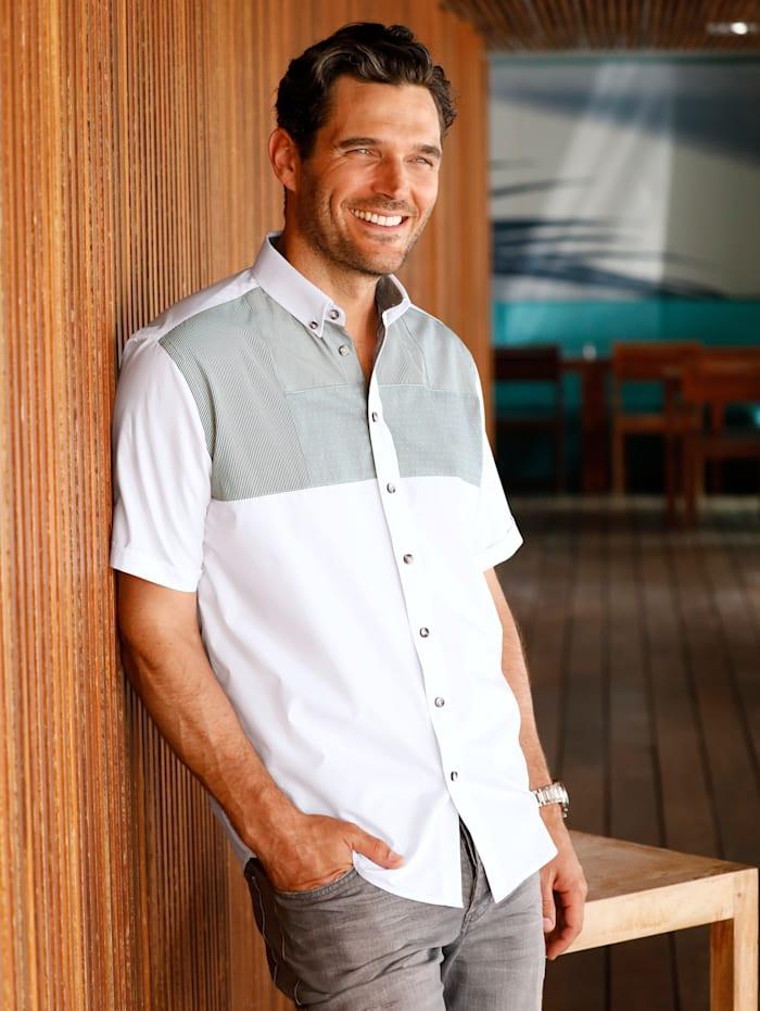 BABISTA Hemd mit modischem Patchwork, Weiß/Grau