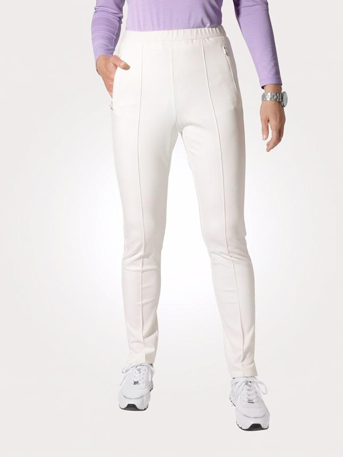 MONA Pantalon à taille élastiquée avec biais, Écru
