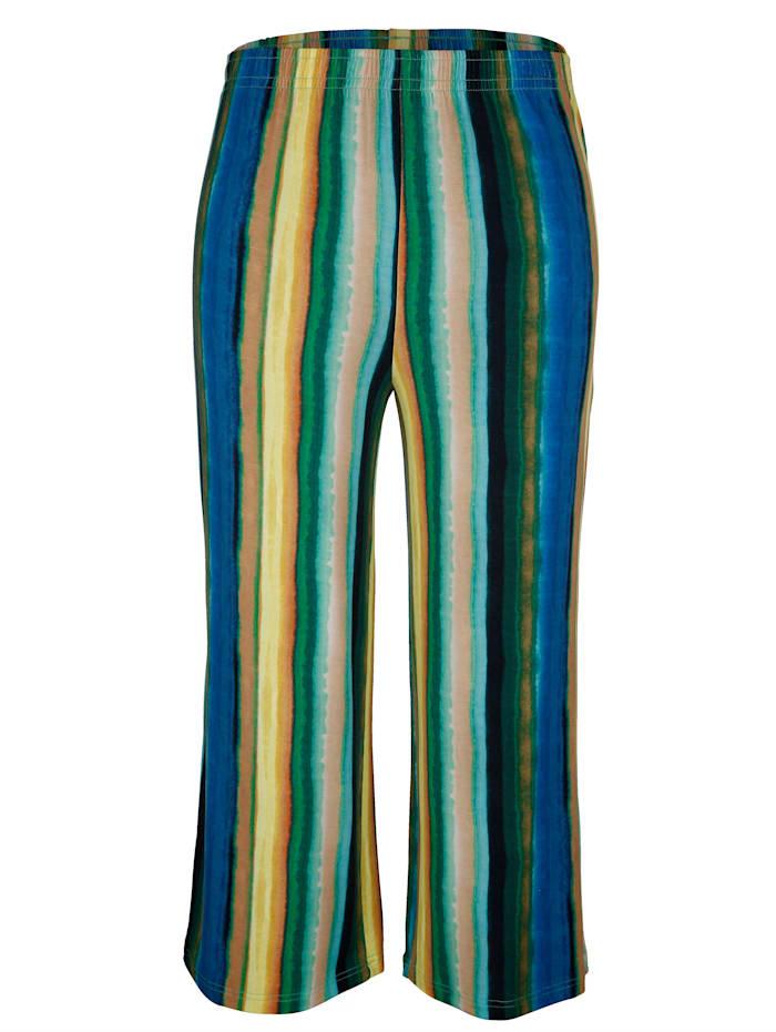 MIAMODA Raidalliset culottes-housut, Keltainen/Sininen/Vihreä