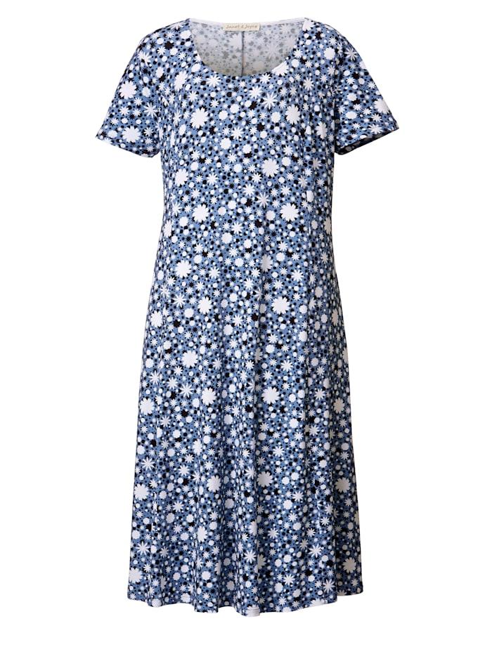 Jerseykjole med blomstertrykk