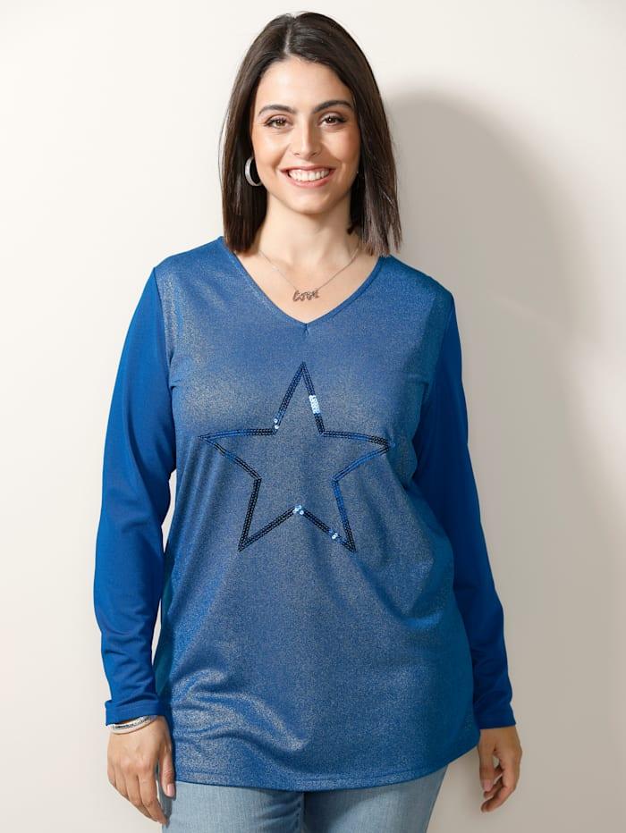 MIAMODA Shirt mit Pailletten-Stern, Royalblau