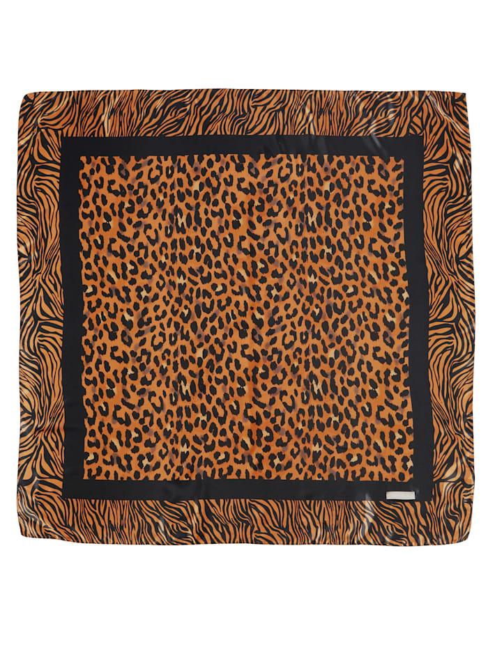 Foulard en satin à motif léopard