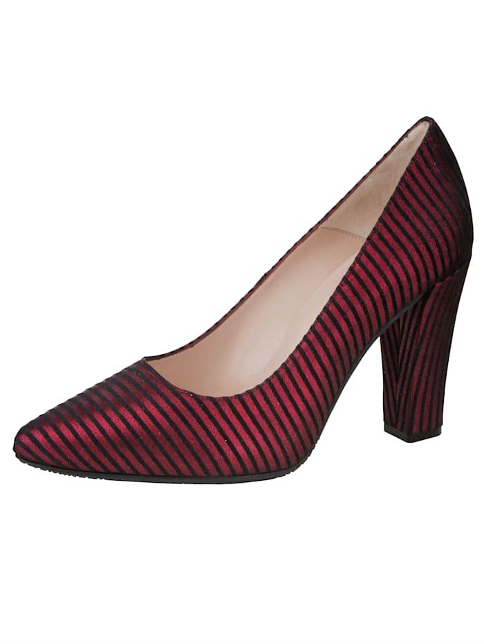 Gennia Court Shoes in elegant stripe design, Bordeaux/Black