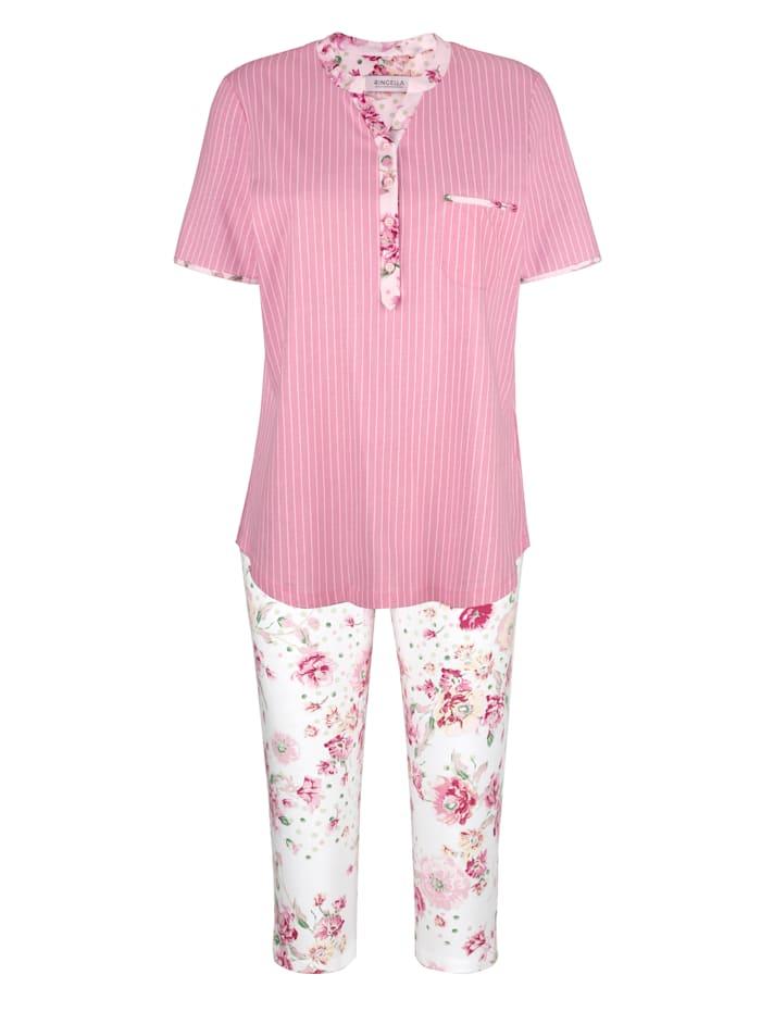 MONA Pyjama Encolure et bas des manches aux accents fleuris, Rose/Blanc/Vert
