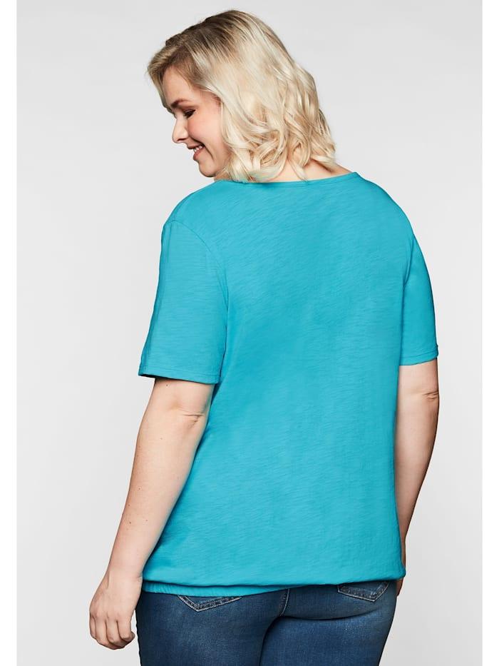 Sheego T-Shirt im Materialmix, mit Gummizugsaum