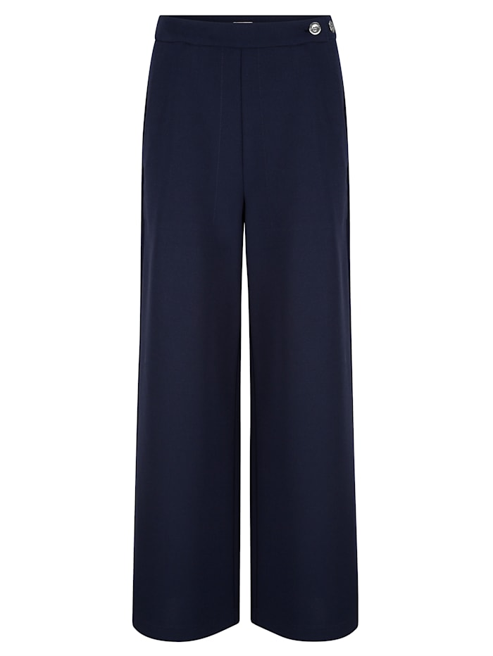 Alba Moda Hose in edler Ware mit leicht creppigem Griff, Marineblau