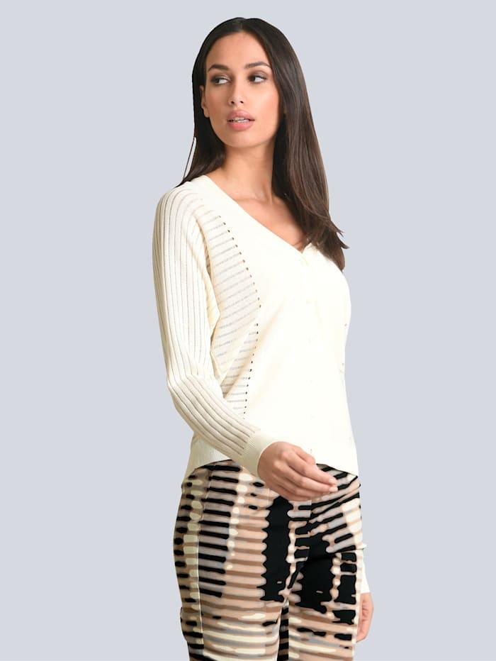 Alba Moda Strickjacke teilweise mit Strukturstrick, Creme-Weiß
