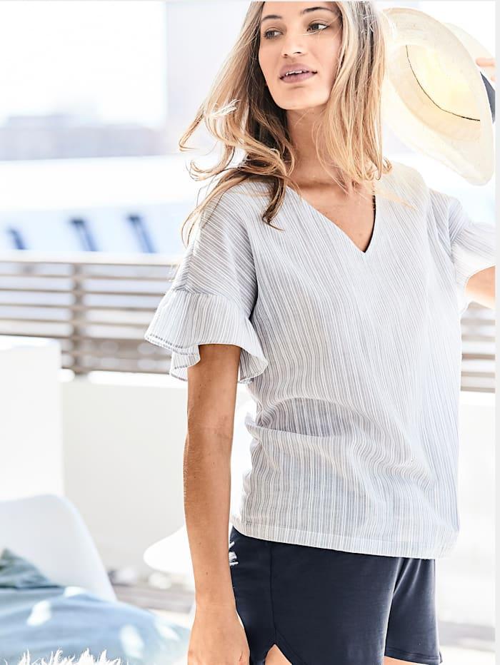 Pyjama-Top mit Streifen und Rüsche