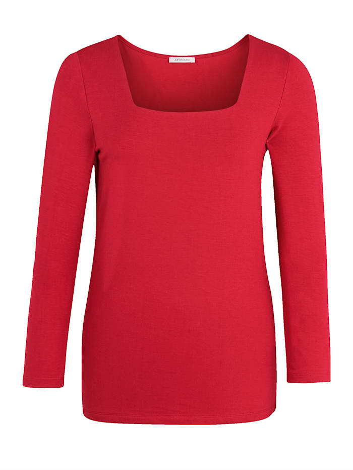 3/4 sleeve jersey top with square neck