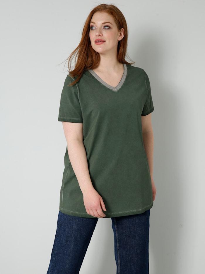 Sara Lindholm Shirt mit Dekoband am Ausschnitt, Khaki