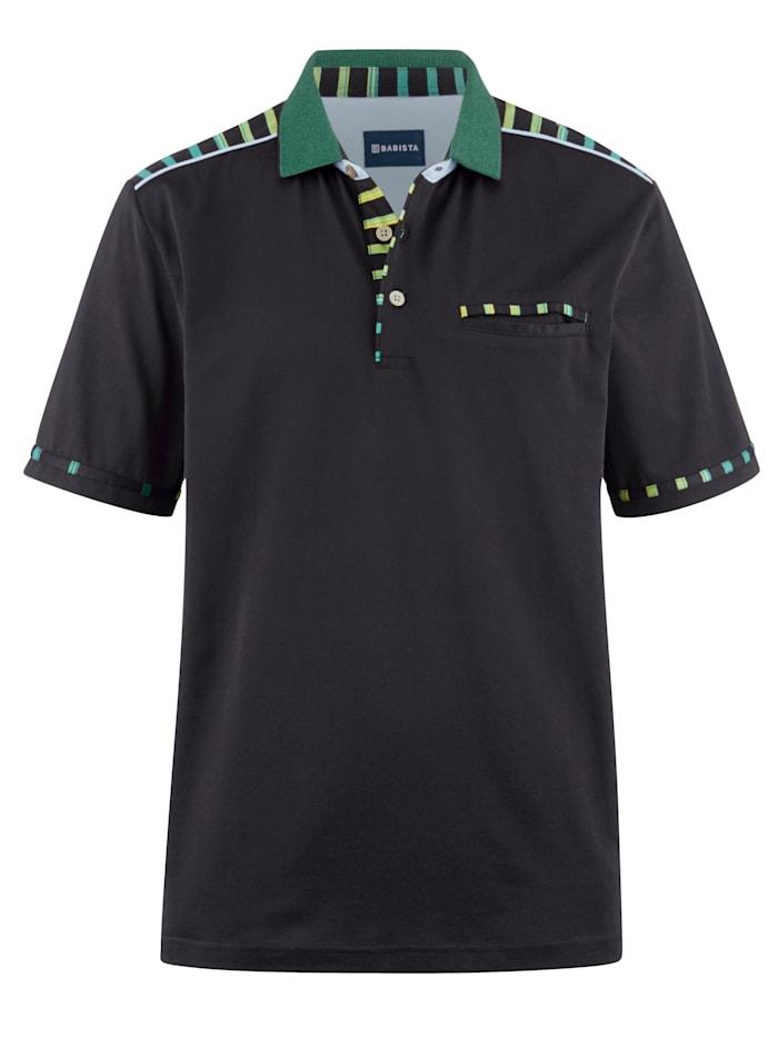 BABISTA Poloshirt mit veredelter Baumwolle und feinster Microfaser, Schwarz