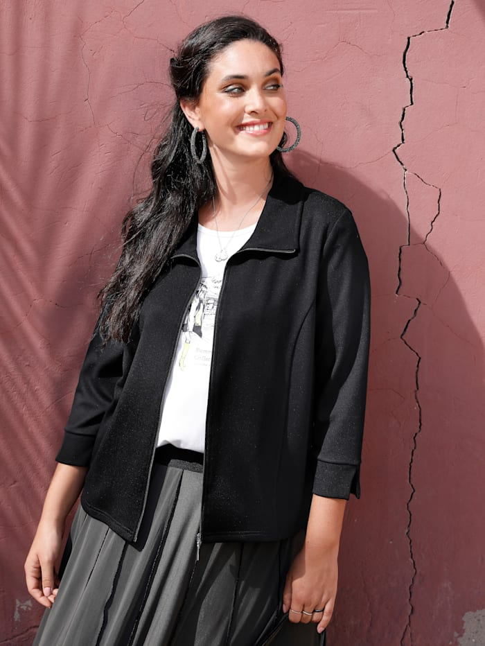 MIAMODA Sweatvest in modieus kort model, Zwart