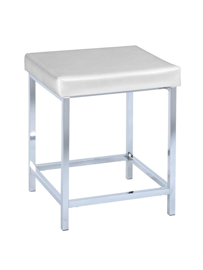 Wenko Hocker Deluxe Square White, Badhocker, Sitzfläche: Weiß, Gestell: Chrom