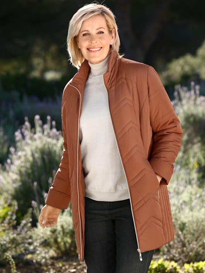 m. collection Gewatteerde jas met mooie stiksels, Terracotta