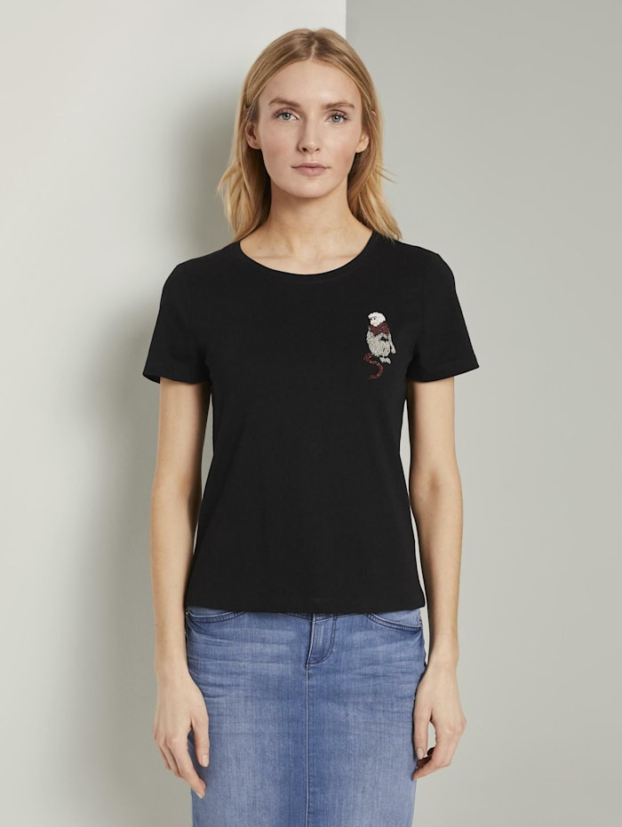 Tom Tailor T-Shirt mit kleiner Affen-Applikation, Deep Black