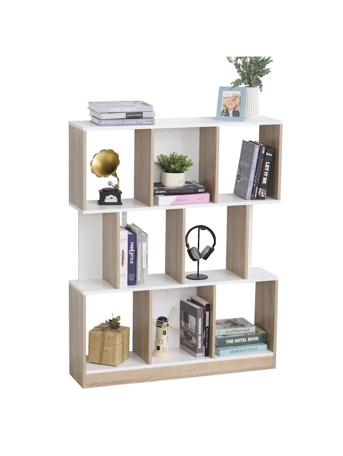 HOMCOM Bücherregal, natur/weiß