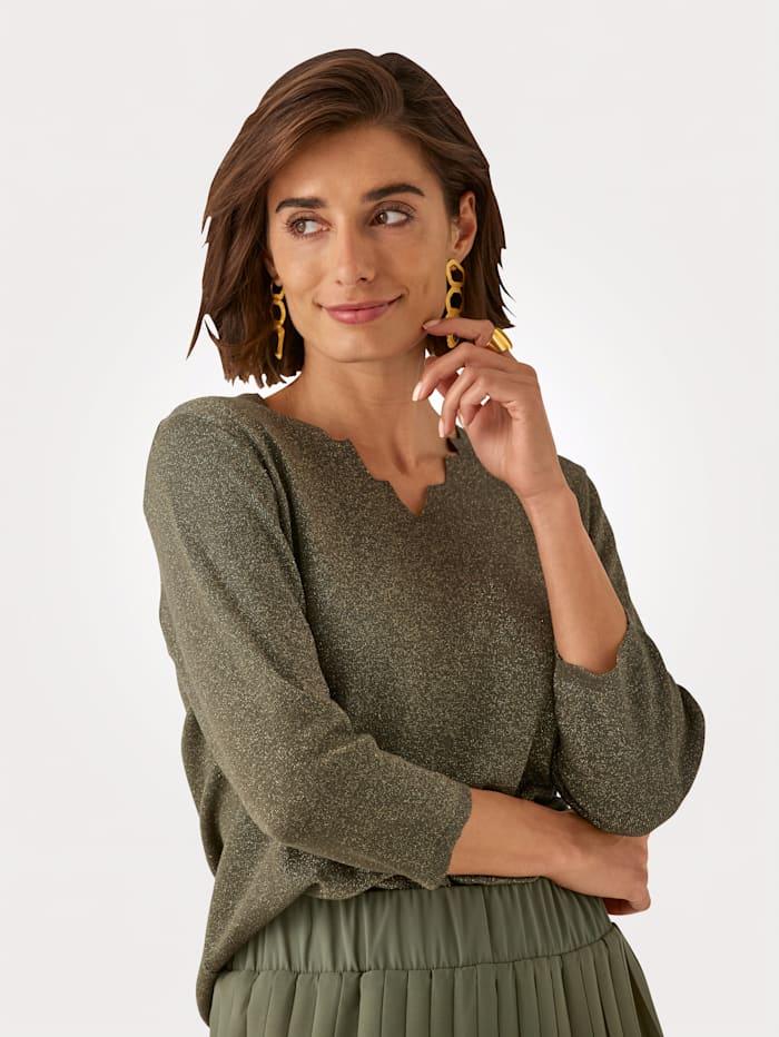 MONA Pullover mit dezent schimmernden Glanzgarn, Oliv