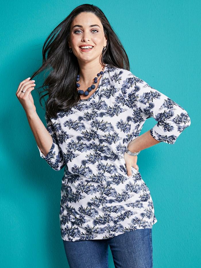 MIAMODA Shirt mit Blumendruck, Weiß/Blau