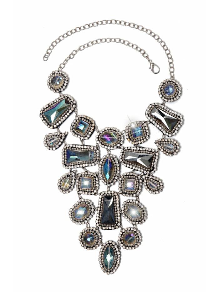 Collezione Alessandro Opulente Statementkette Rita mit antiken Glassteinen, silber