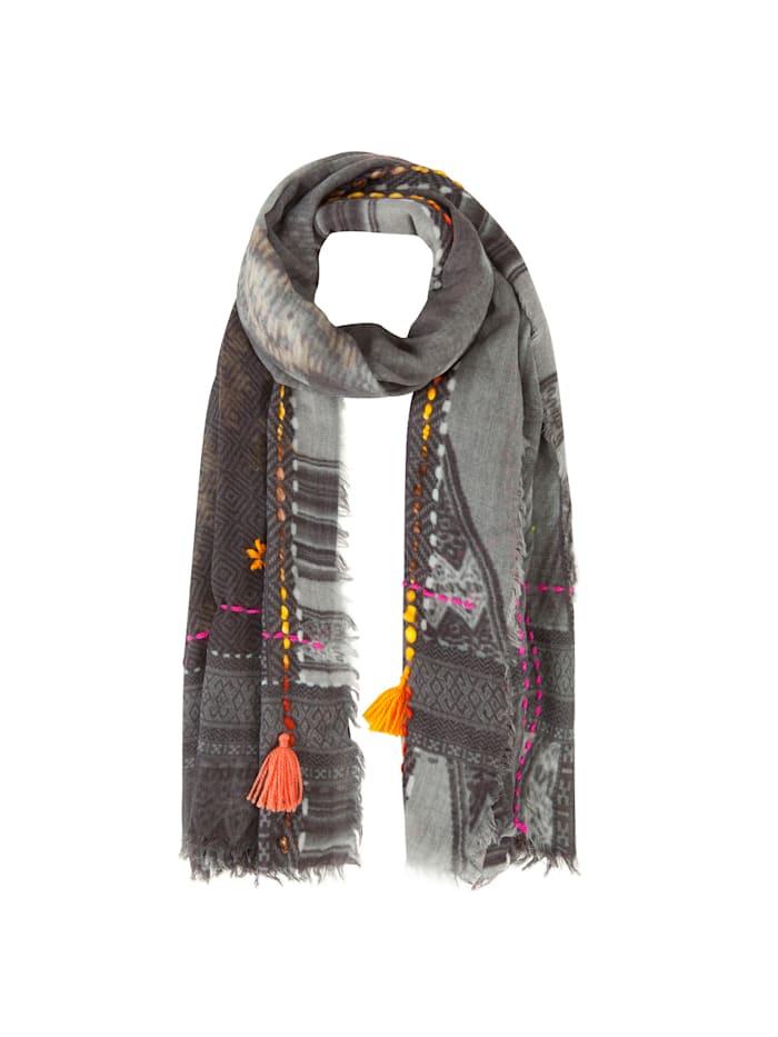 Codello Art School Ethno-Schal aus Wolle und Modal, grey