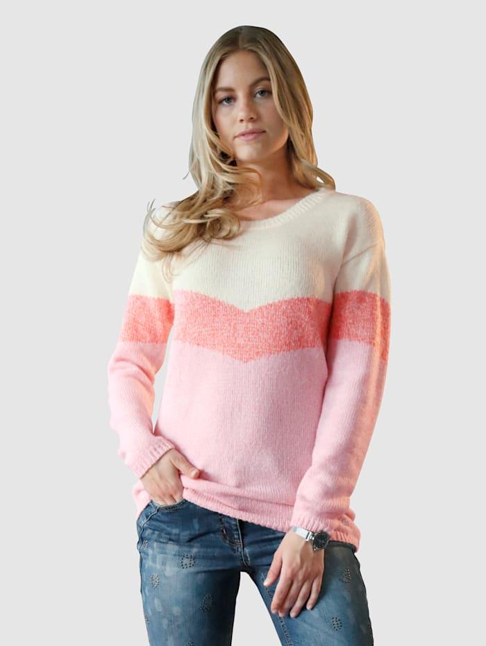 AMY VERMONT Pullover im Streifen-Dessin, Off-white/Rosé/Orange