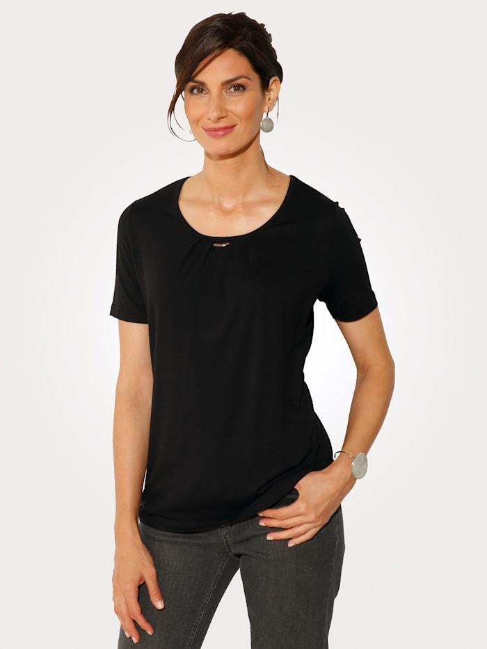 MONA Shirt aus Feinjersey, Schwarz