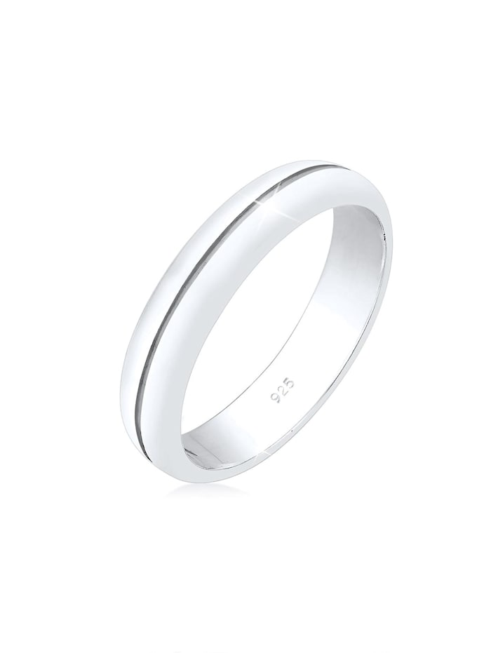 Elli Premium Ring Bandring Trauring Basic Hochzeit Paar 925 Silber, Silber