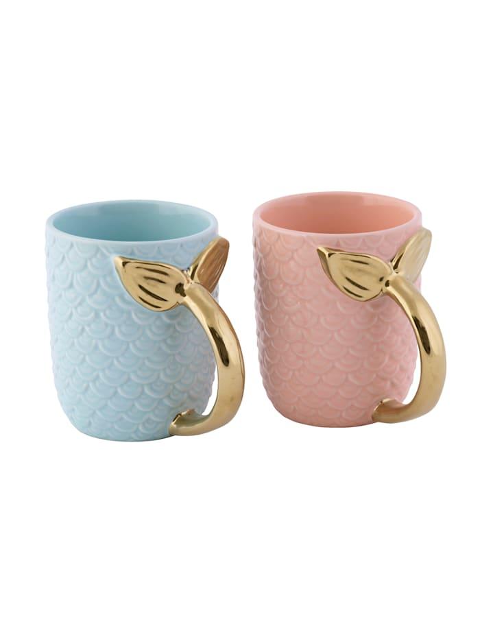 IMPRESSIONEN living Tassen-Set, 2-tlg., rosa/blau/goldfarben