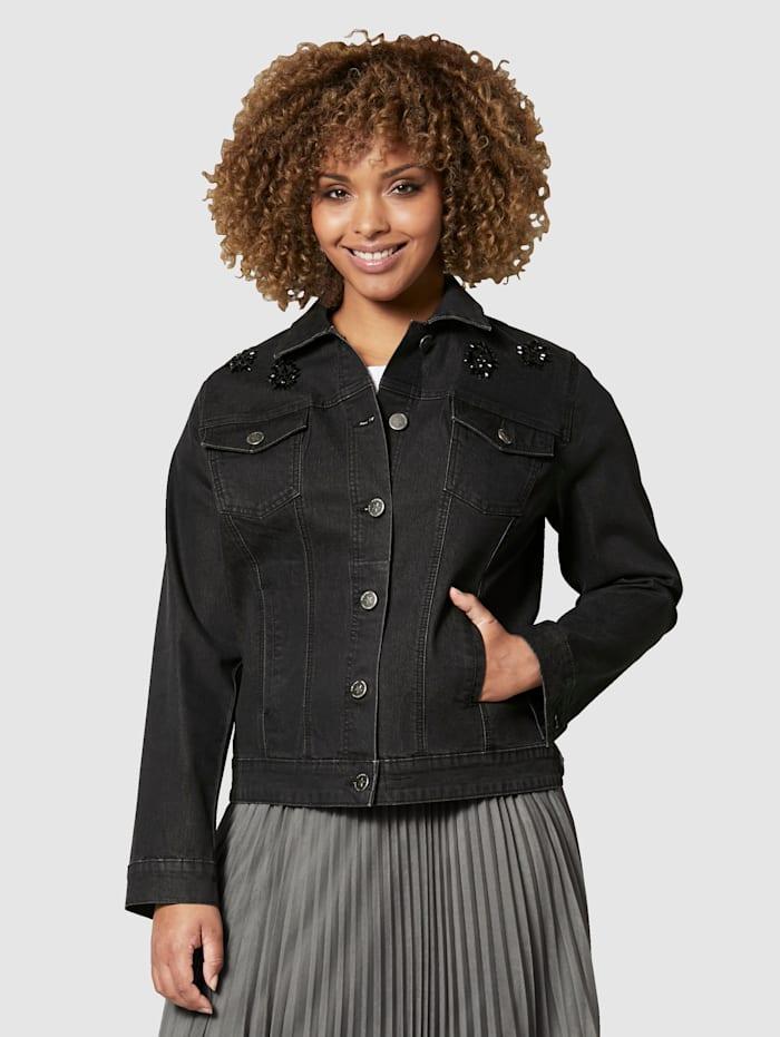 Angel of Style Veste en jean à strass, Black