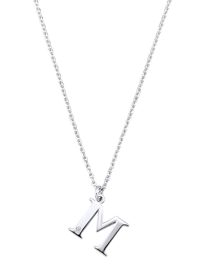 Collier Letter M met diamant, Zilverkleur