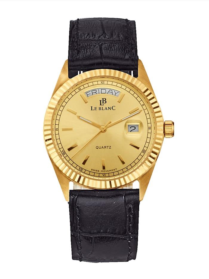 Le Blanc Herenhorloge met kast van 14 kt., Zwart