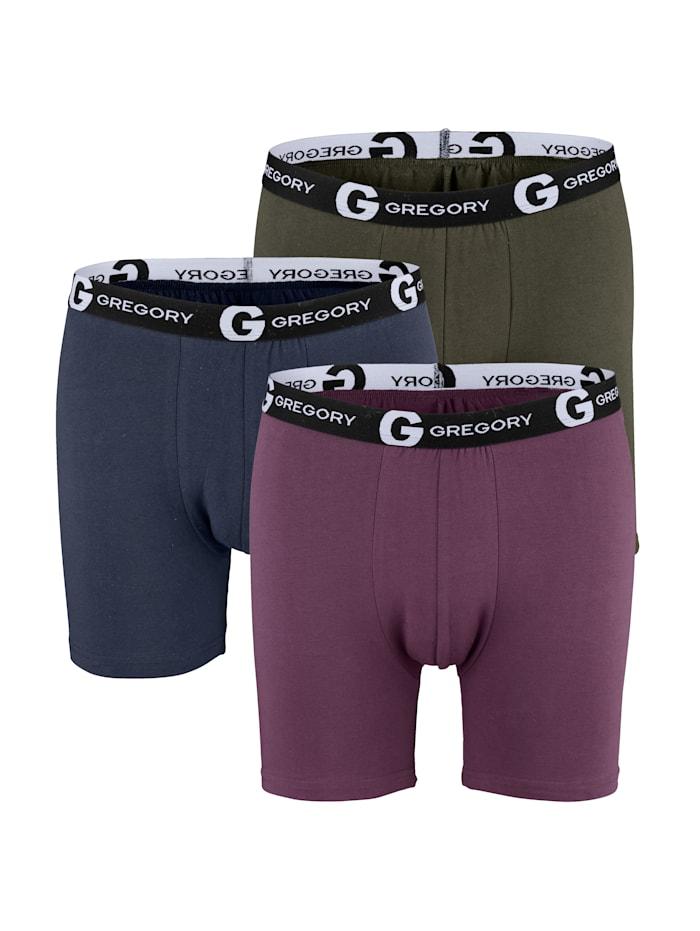 G Gregory Boxershorts i ettersittende modell, Marine/Vinrød/Kaki