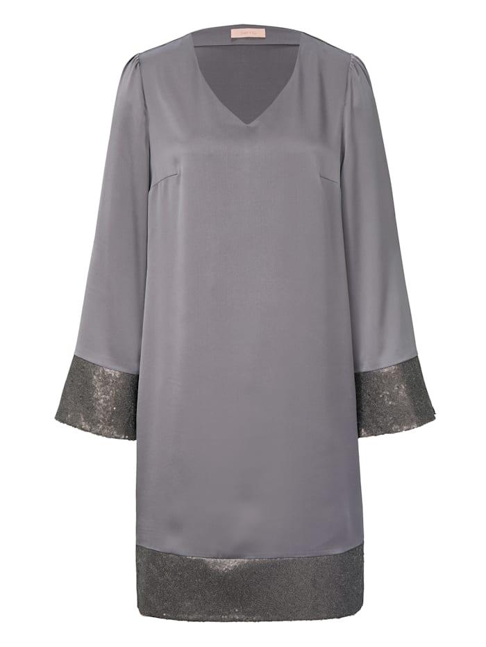 SIENNA Kleid mit Paillettenbesatz, Grau
