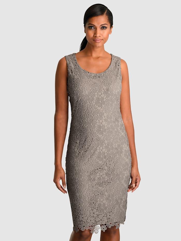 Alba Moda Kleid aus edler Spitze allover, Taupe